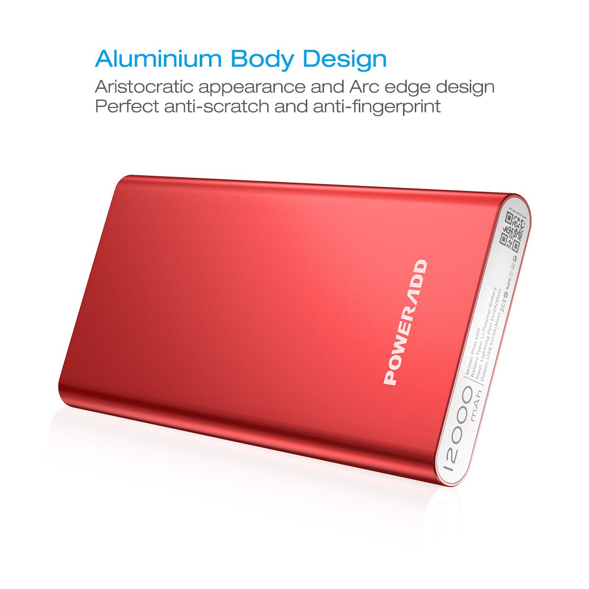 Apple Lightning 12000mAh Portable Charger, Poweradd Pilot 4GS Dual 3A External Battery Pack with Lightning 8-Pin Cable 3.3ft/1M for iPhone, iPad, Samsung Galaxy and More - Limited Red