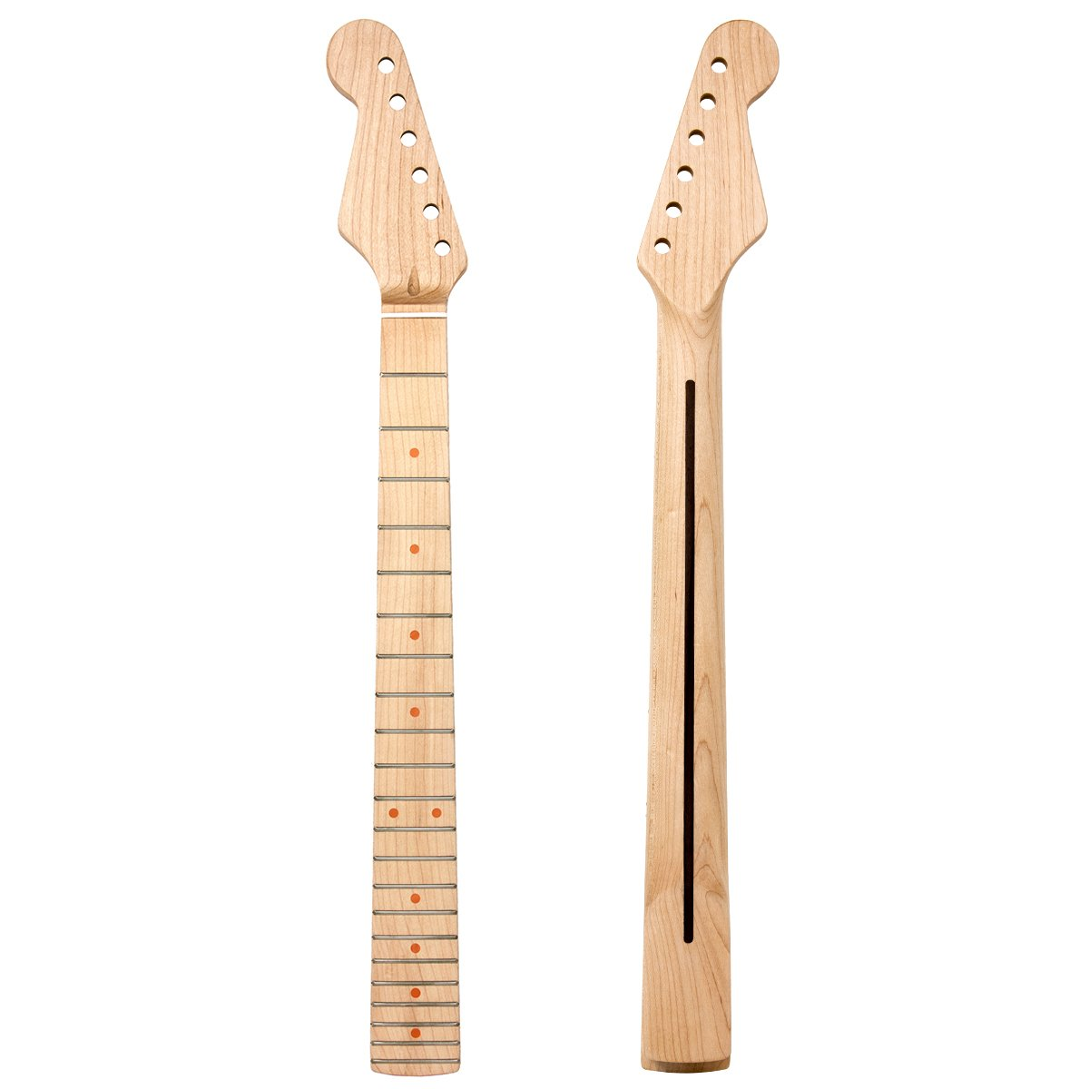 Kmise Left Hand Electric Neck for Similar Guitar Parts Replacement Canada Maple 22 Frets Clear Satin (2)