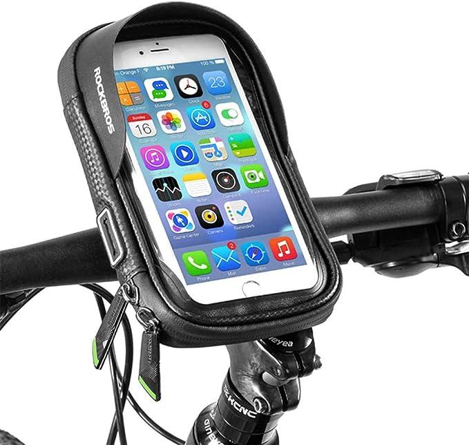 Rockbros Fahrrad Lenkertasche Wasserdicht Handyhalterung Handytasche Fahrradtasche Für Handy Bis Zu 6 0 Zoll Sensitivem Touchscreen Bekleidung
