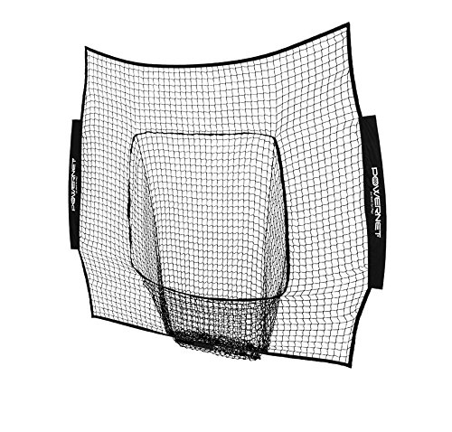 PowerNet Team Color Nets Baseball and Softball 7x7 Bow Style (NET ONLY) Replacement | Heavy Duty Knotless | Durable PU Coated Polyester | Double Stitched Seams for Extra Strength (Black)