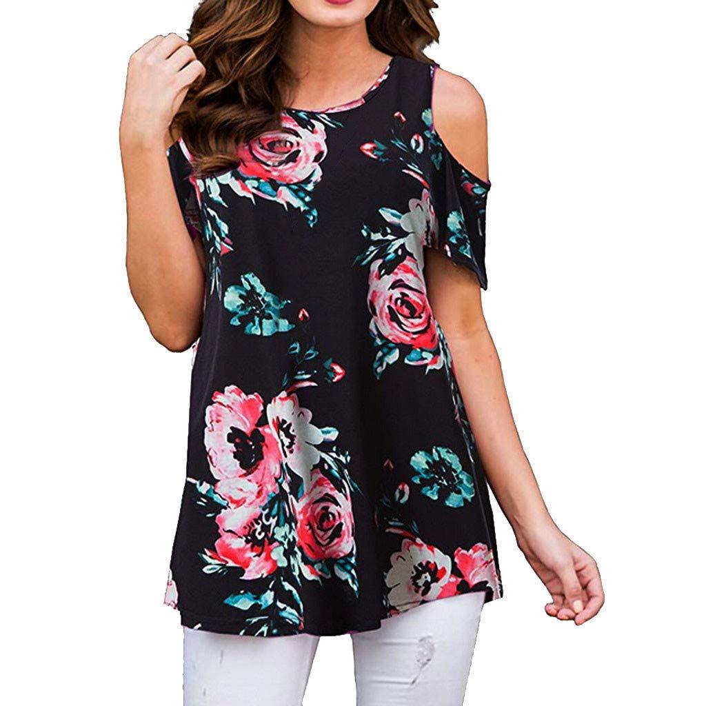 Duseedik Summer Women's Tops One Shoulder T-Shirt Short Sleeve Casual Cold Shoulder Print Tunic Tops Blouse Shirts Black