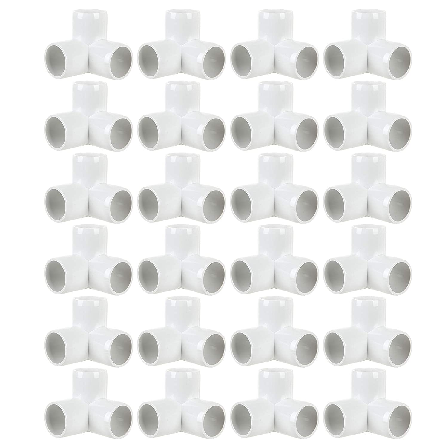 24Pack PVC Elbow Fittings, 3/4 Inch 3 Way PVC Pipe Fitting connectors for SCH40 PVC Pipe, PVC Pipe Tee Corner Fitting- Build Heavy Duty PVC Furniture,3 Way PVC Pipe Joint