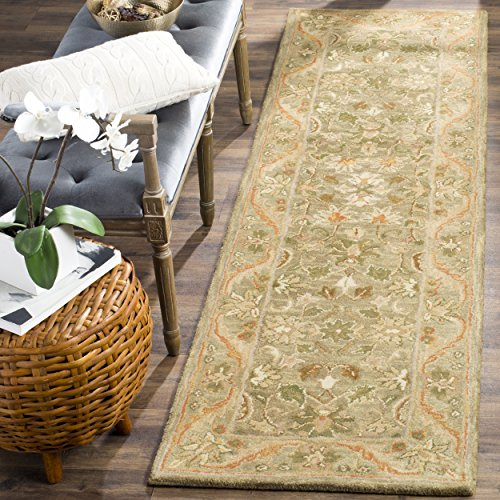 Safavieh Antiquities Collection AT52A Handmade Traditional Oriental Olive and Gold Wool Runner (2'3