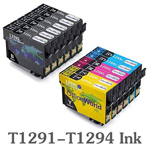OfficeWorld Kompatibel Epson T1291 T1292 T1293 T1294 Tintenpatronen Kompatibel für Epson Stylus SX420W SX425W SX445W SX525WD SX535WD SX620FW & Office B42WD BX305F BX305FW BX320FW BX525WD BX535WD BX625FWD BX630FW BX635FWD BX925FWD BX935FW WorkForce WF-7015 WF-7515 WF-7525