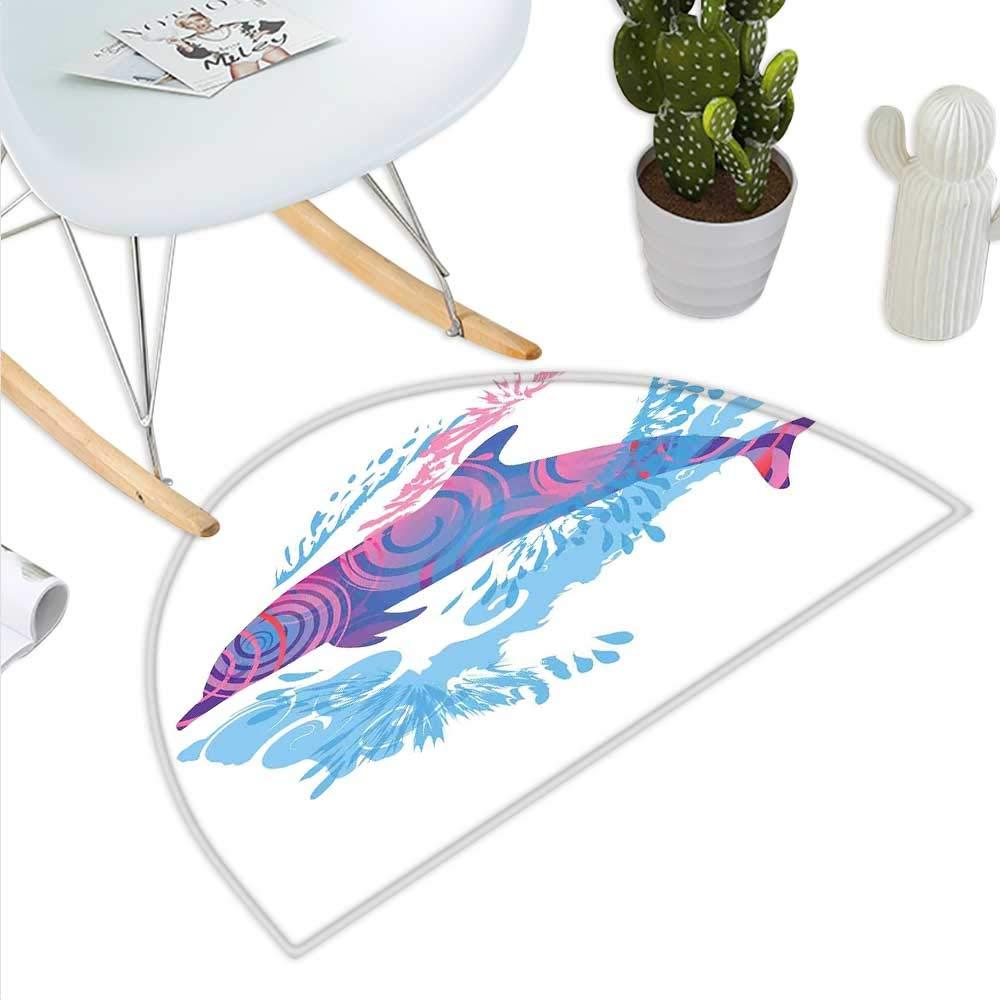 color01 H 47.2  xD 70.8  Sea Animals Semicircle Doormat Sketch of Dolphins with colorful Butterfly Ornamentals Ocean Life Illustration Halfmoon doormats H 27.5  xD 41.3  Multicolor