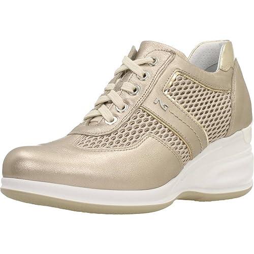 Sneakers NeroGiardini per Donna in Pelle e Tessuto Beige con Zeppa Alta   Amazon.it  Scarpe e borse 69b8bb4096d