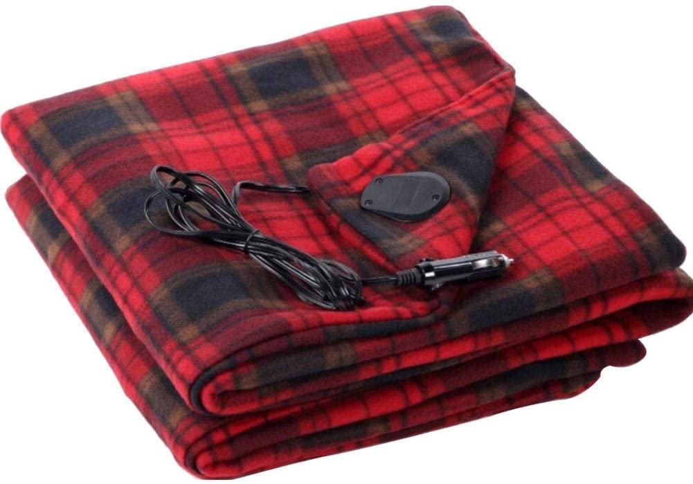 ALOVEWE Electric Heating Blanket 12V Lattice Fleece Car Supplies Winter Hot Car Constant Temperature Heating Blanket for Travel Camping Picnic Heater