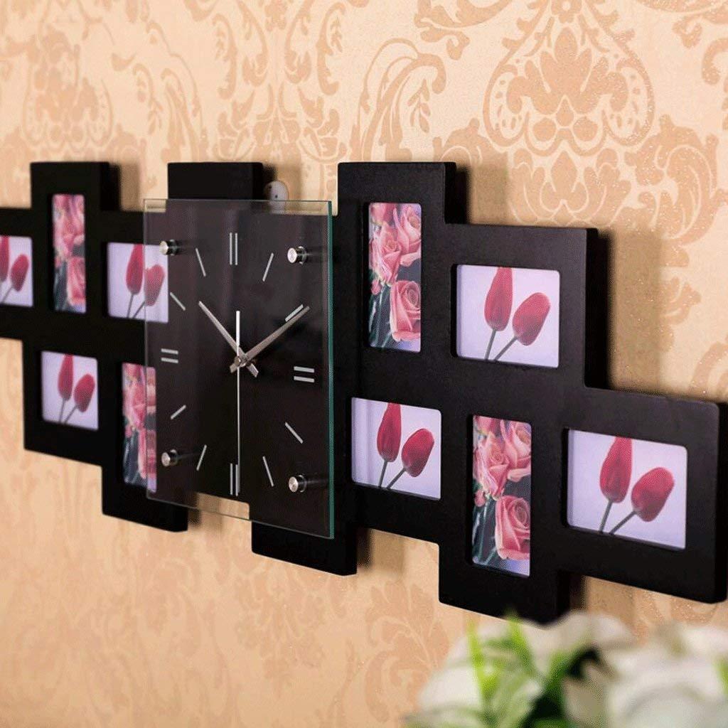 ホームデコレーションクリエイティブパーソナリティウォールクロックJYT、 リビングルームクリエイティブフレーム時計現代のパーソナライズされた時計ファッション寝室ミュートクォーツ時計(カラー:ホワイト) ファッション雑貨 (色 : ブラック)  ブラック B07RDHYJ4D