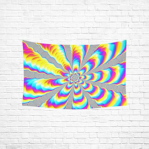 TIANYUSS Tapestry Color Loud Neon Colors Psychedelic Pattern Effect Hippie Tapestries Wall Hanging Flower Tapestry Wall Hanging Dorm Decor For Living Room Bedroom 60 X 40 Inch