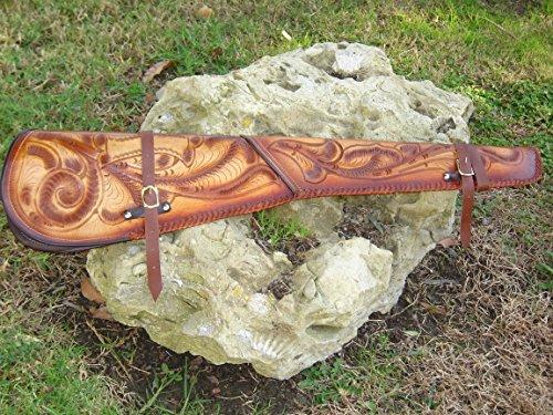 Tooled Leather Rifle/Shotgun Scabbard (Leather Gun Scabbard)