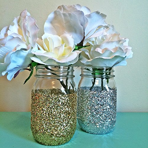 6-Silver-Glitter-Glass-Mason-Jar-Centerpieces-Wedding-Centerpieces-Gold-Wedding-Silver-Gold-Vases-Gold-Party-Decorations-Silver-Birthday-Set-of-6