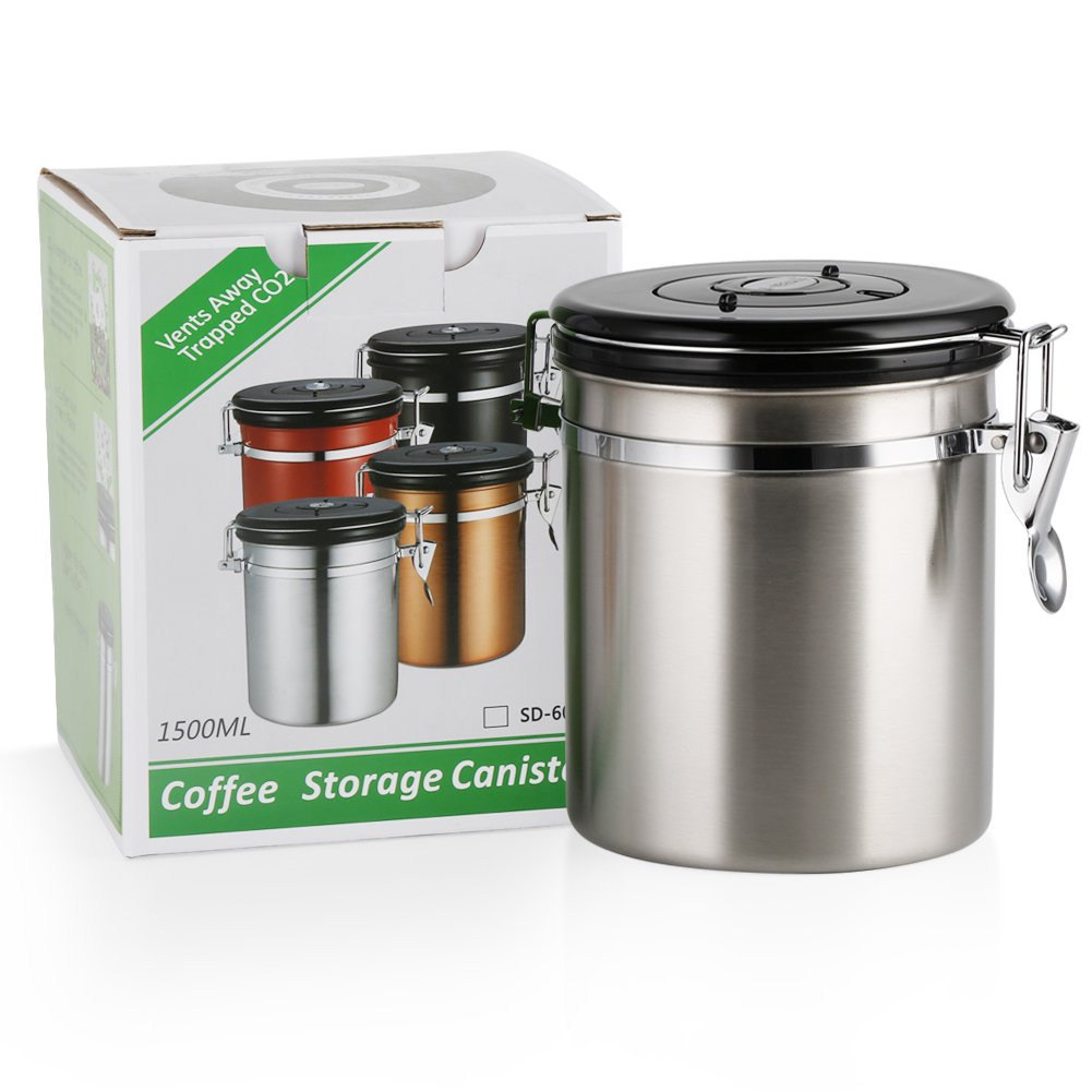 Coffee Container AirtightStainless Steel Vacuum Sealed Coffee Storage Canister for Coffee Ground Beans (Silver 500g16oz)  sc 1 st  eBay & Coffee Container AirtightStainless Steel Vacuum Sealed Coffee ...