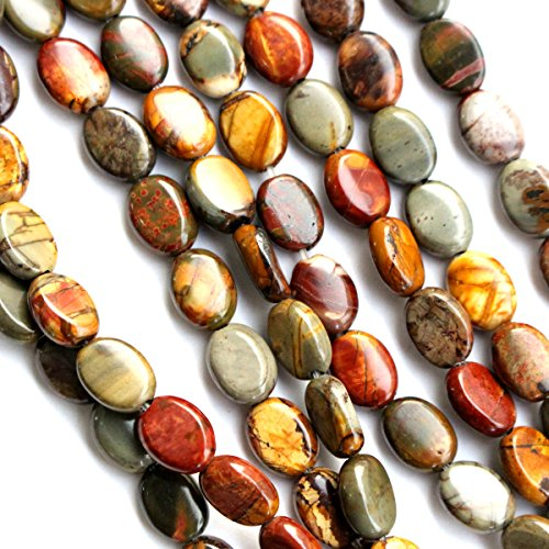 Natural Color Picasso Jasper Gemstone Loose Beads Findings Jewerlry Making (Oval 8*10mm) Picasso Jasper Natural Stone