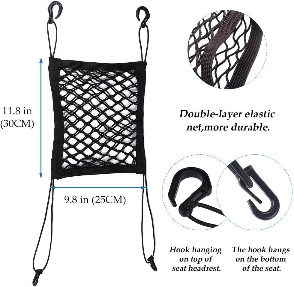 Driver Storage Netting Pouch purse holder for car coofig 2-Layer car storage net pocket,car seat storage mesh organizer,Barrier of Backseat Pet Kids Cargo Tissue