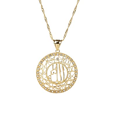 Amazon 24k gold muslims allah pendant necklace charm arabic 24k gold muslims allah pendant necklace charm arabic islamic rhinestone jewelry aloadofball Images