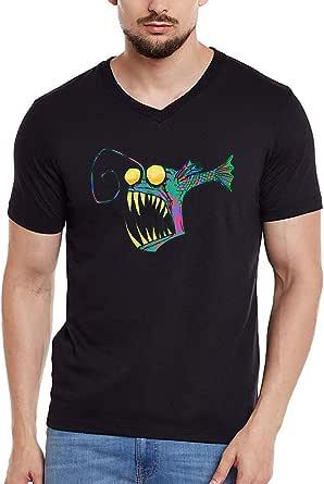MEC Angler Fish T-Shirt Black V-Neck Medium Size MEC MT-AnF1 For Men