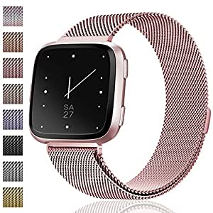 Maledan for Fitbit Versa Bands, Replacement Accessory Wristbands, Small, New Rose Gold