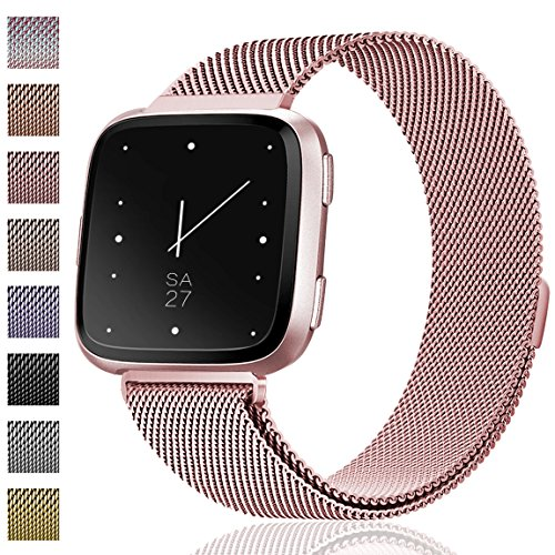 Maledan Metal Bands Replacement Compatible with Fitbit Versa, Stainless Steel Milanese Accessories Bracelet Strap Band with Magnet Lock for Women Men, Rose Gold, Small