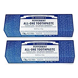 Dr. Bronner's - All-One Toothpaste (Peppermint, 5 ounce, 3-Pack) - 70% Organic Ingredients, Natural and Effective… 22 MADE WITH ORGANIC and FAIR TRADE INGREDIENTS: Dr. Bronner's All-One Toothpaste is made with 70% organic ingredients-our low-foaming formula helps whiten teeth, reduce plaque and freshen breath. NO SYNTHETIC FOAMING AGENTS: No Sodium Lauryl Sulfate, Sodium Lauroyl Sarcosinate, Ammonium Lauryl Sulfate, Sodium Methyl Cocoyl Taurate-none! No artificial colors, flavors, preservatives, or sweeteners. Fluoride- and cruelty-free! A SIMPLE FORMULA: Hydrated Silica and Calcium Carbonate act as natural, gentle abrasives; Baking Soda and Potassium Cocoate (made with Organic Coconut Oil) are superb natural cleansers; Organic Essential Oils provide refreshing flavor. It's that simple!