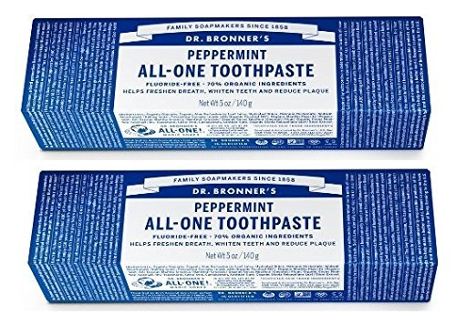 Dr. Bronner's - All-One Toothpaste (Peppermint, 5 ounce, 3-Pack) - 70% Organic Ingredients, Natural and Effective… 1 MADE WITH ORGANIC and FAIR TRADE INGREDIENTS: Dr. Bronner's All-One Toothpaste is made with 70% organic ingredients-our low-foaming formula helps whiten teeth, reduce plaque and freshen breath. NO SYNTHETIC FOAMING AGENTS: No Sodium Lauryl Sulfate, Sodium Lauroyl Sarcosinate, Ammonium Lauryl Sulfate, Sodium Methyl Cocoyl Taurate-none! No artificial colors, flavors, preservatives, or sweeteners. Fluoride- and cruelty-free! A SIMPLE FORMULA: Hydrated Silica and Calcium Carbonate act as natural, gentle abrasives; Baking Soda and Potassium Cocoate (made with Organic Coconut Oil) are superb natural cleansers; Organic Essential Oils provide refreshing flavor. It's that simple!