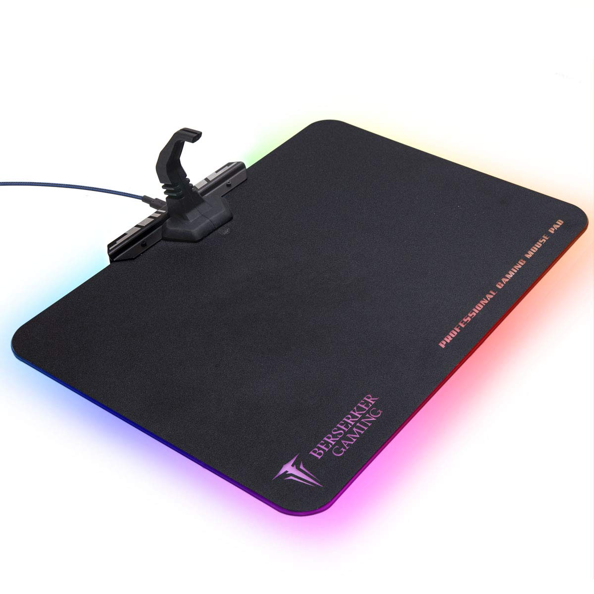 Large RGB LED Gaming Mouse Pad Hard Micro Texture Surface -7 Light Up Modes - Mouse Bungee Cable Manager Holder Attachment - PC; Mac; Linux