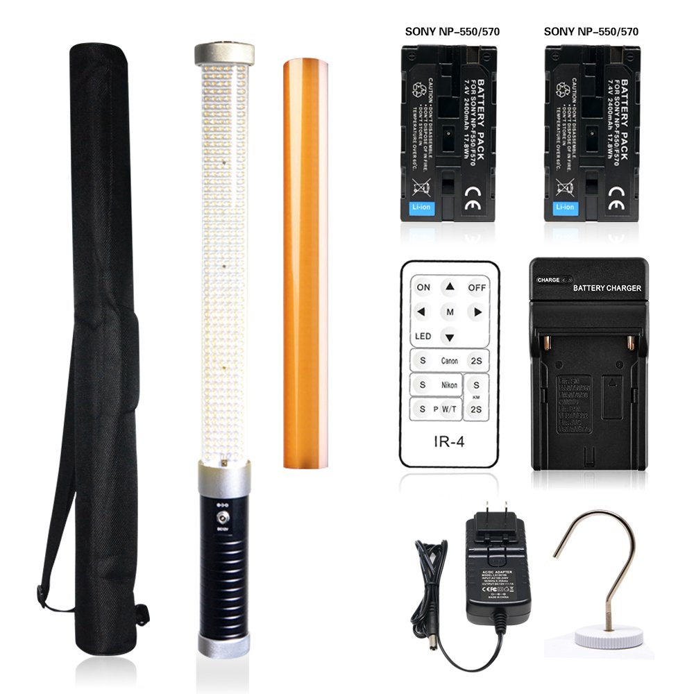 Mcoplus LE-R320 322pcs LED Magic Tube Light 2000LM CRI95+ Portable Handheld Video Wand Lighting with IR-4 Infrared Remote Control + 2pcs NP-F550 Batteries for Photography & Videography as Ice Light 2