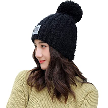 Amazon.com  Midress Knitted Hats Hairball Hat 564193fb0c98
