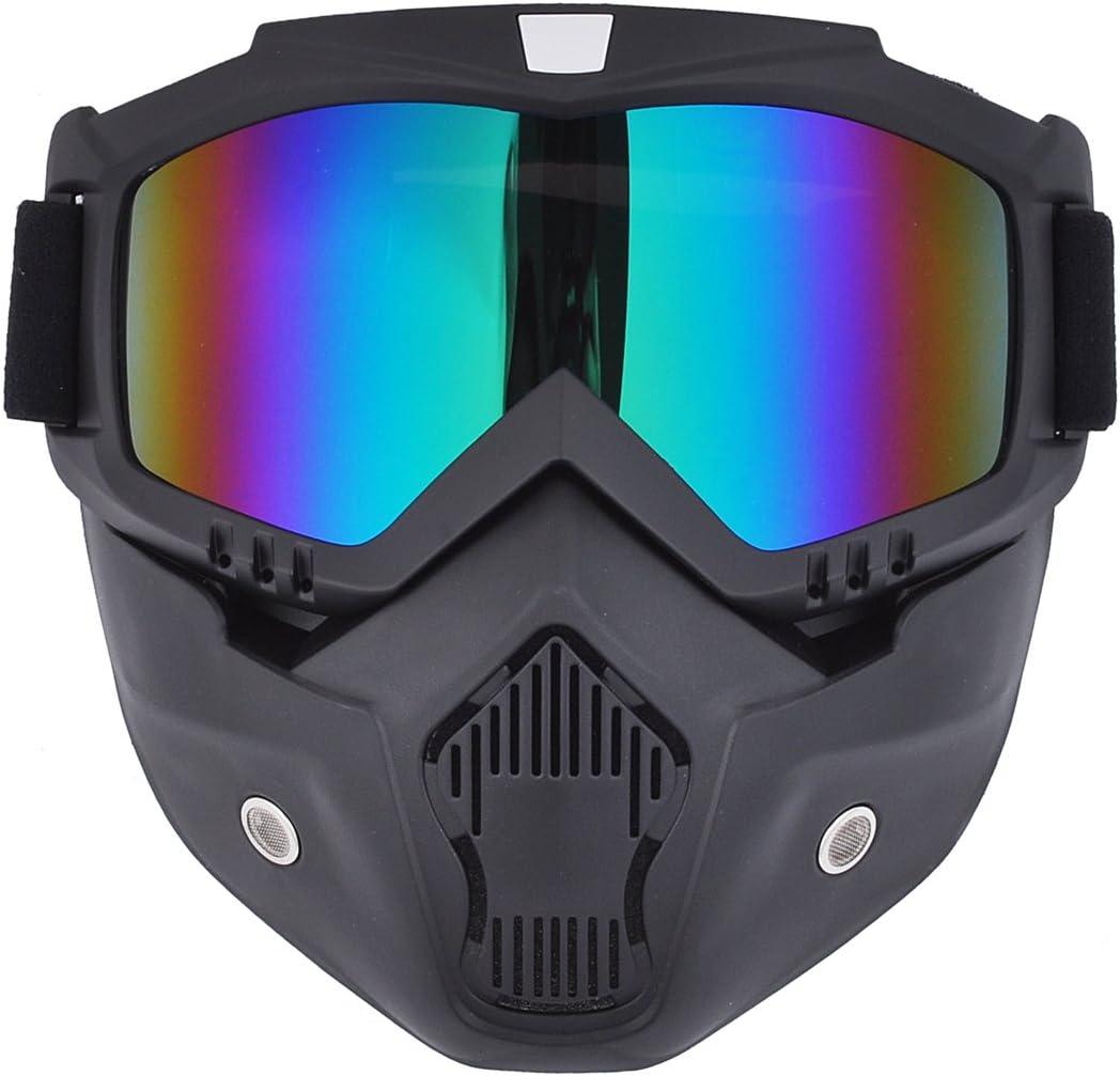 Máscara de motocross Madbike con gafas y filtro para la boca extraíbles, para cascos vintage, arco iris