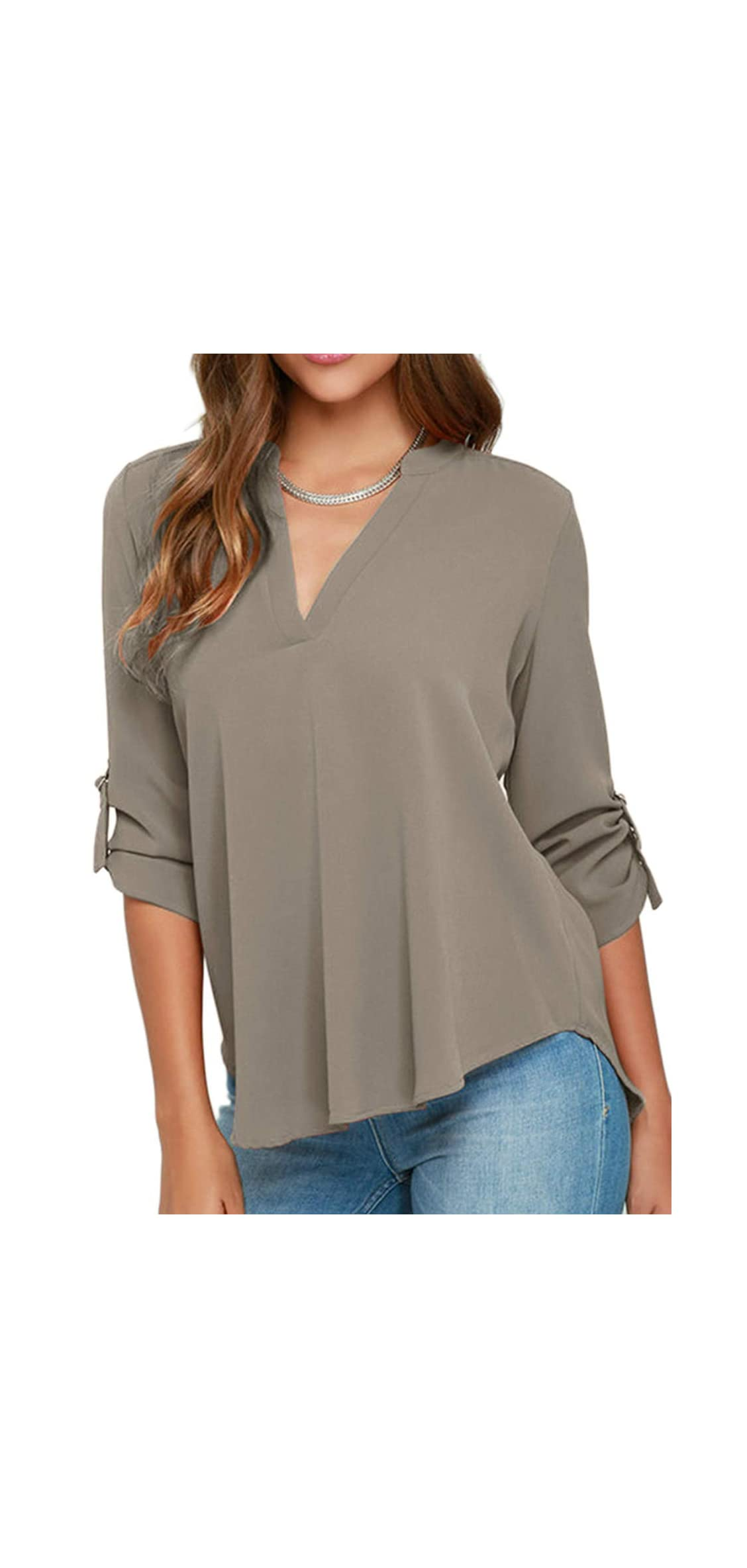 Women's V Neck Casual Chiffon Blouses Solid Roll Up Tops