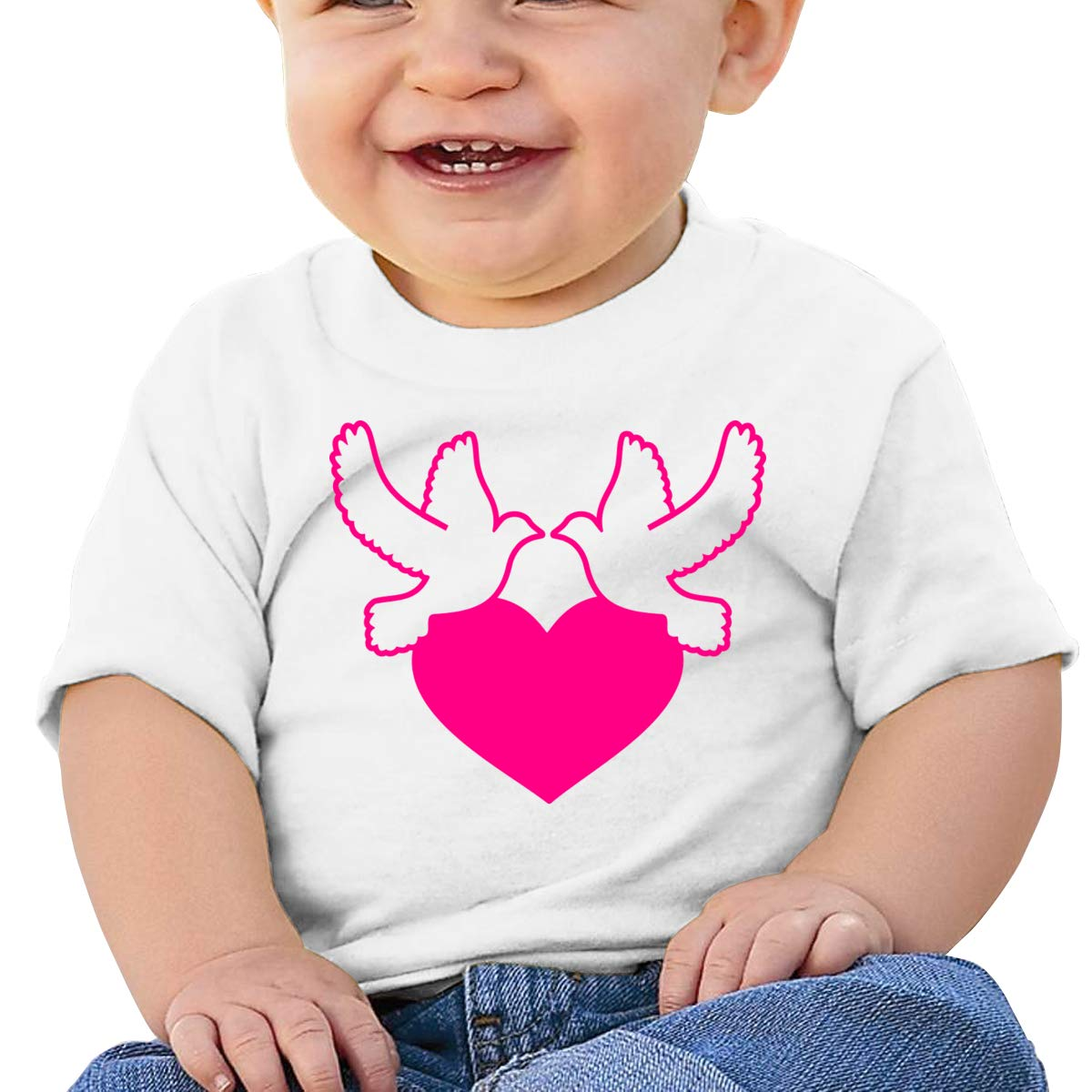 Pink Peace Love Dove Short Sleeves T-Shirt Baby Boy