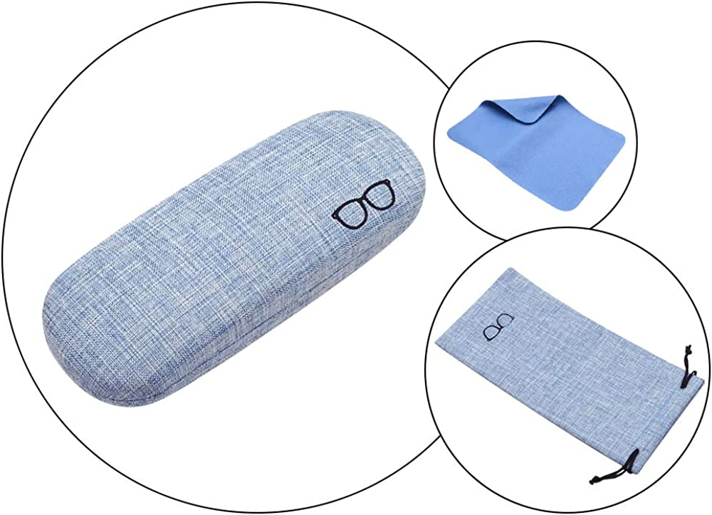 HiCycle2 Glasses Case Linen Fabric Case for Eyeglasses Sunglasses Protective Case with Glasses Pouch,Cleaning Cloth