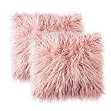 Sungea Throw Pillow Covers Decorative Super Soft Plush Faux Fur Cushion Cover Case for Couch Home Decor 24x24 Pack of 2 (Pink)