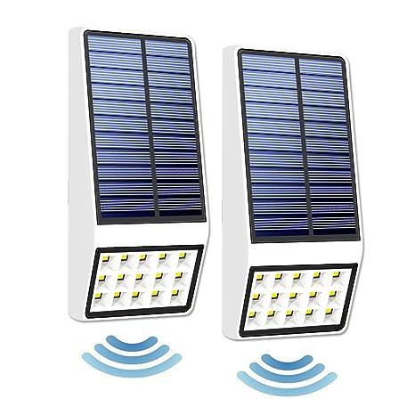 GAXmi Luces Solares 2 Paquetes Sensor de Movimiento de Microondas Luz de Seguridad 15 LED al