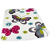 Decke Kinderdecken Schmetterlinge Creme Butterfly Bunt Kuscheldecke Spieldecke, Grösse:155x215 cm
