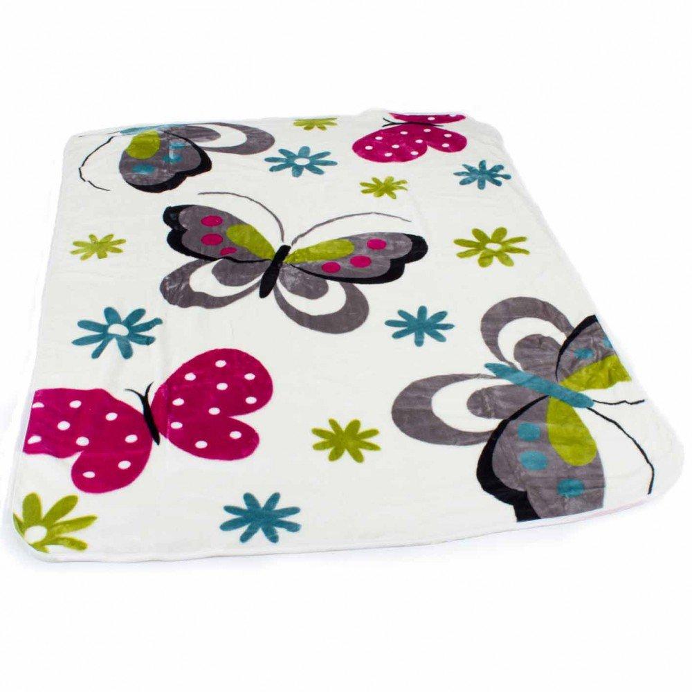PHC Decke Kinderdecken Schmetterlinge Creme Butterfly Bunt Kuscheldecke Spieldecke, Grösse:155x215 cm Grösse:155x215 cm
