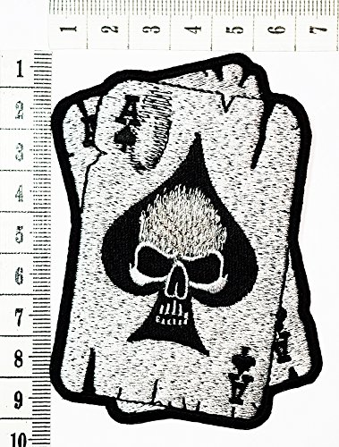 Poker Bike (Ace of spades Skull Head Poker Card Metal Tattoo patch Motorcycle Bike Iron patch / Sew On Patch Clothes Bag T-Shirt Jeans Biker Badge Applique)