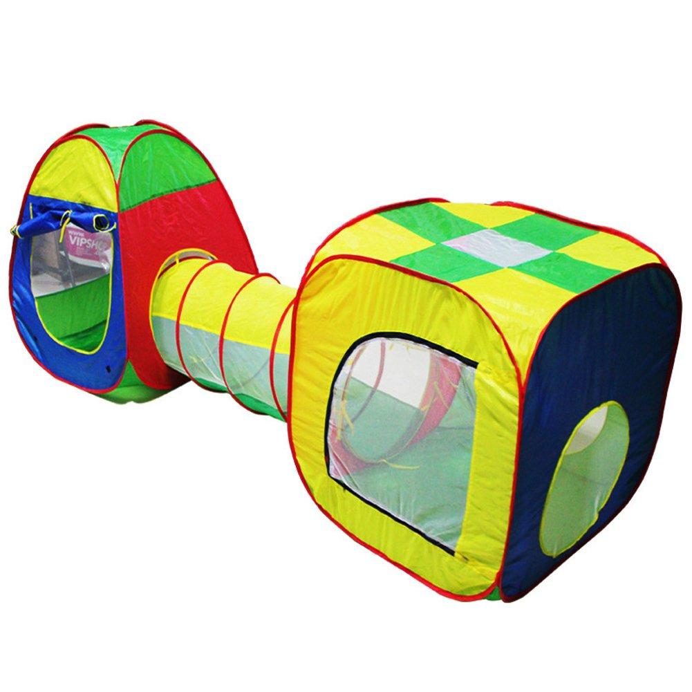 Demiawaking Kleinkind Cubby Tube Teepee 3pc Pop-up spielen Zelt Kinder Tunnel Kinder Abenteuer Haus Spielzelt