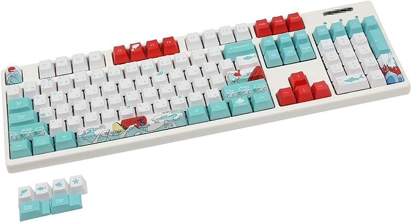 104+6 teclas de perfil OEM PBT 5-Faced Dye-subbed compatible con GK61 87 104 108 ANSI teclados mecánicos (Full Coral Sea japonés)