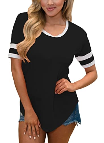 Sidefeel Women Casual Blouse Top with White Stripe Short Sleeve T-shirt
