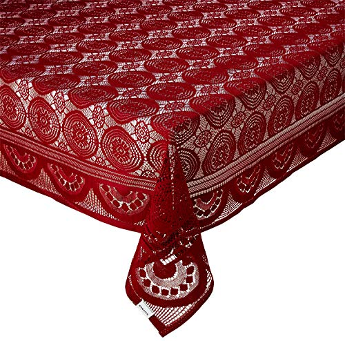 Amazon Brand – Solimo Cotton Blend Table Cover for Centre Table and 4 Seater Dining Table (Halo, Maroon)
