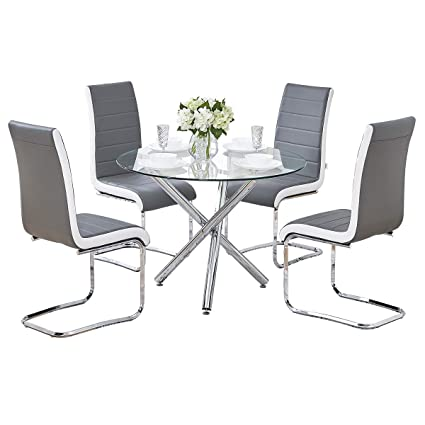 e25172122a4 GIZZA Clear Round Glass Dining Table and 4 Chairs Streamline Side Grey Black  White