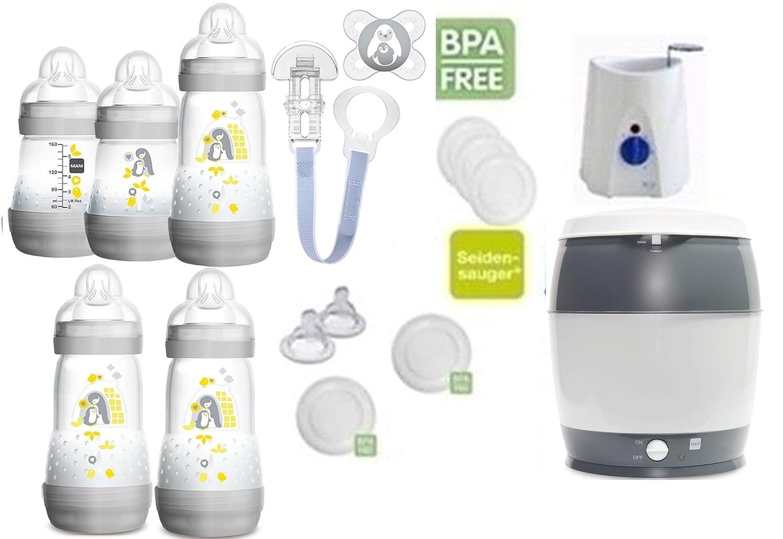 MAM Set 6 - Startset - Flaschen Sterilisator Babykoster Sauger 20 teilig - Neutral + gratis Schmusetuch Löwe Leo MAM Babyartikel