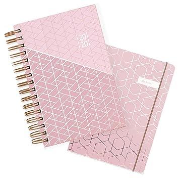 Matilda Myres 2020 - Agenda (A5, año rosa, con páginas por día), color Pink Gift Set A5