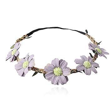 Amazon.com   Kaured Nice Flower Headbands Hair Band Headwear Hair  Accessories Women Beach Flowers Wreath Turban Headwraprls Elastic Head Band  light purple   ... 823fa9a6b46