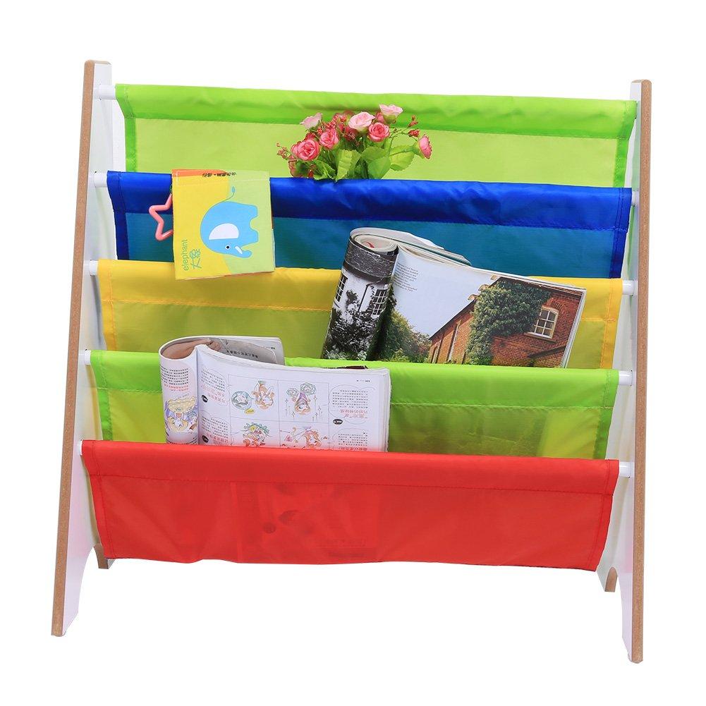 Greensen Children Bookcase, Wooden Sling Book Rack Kids Book Storage with Multi-color Pocket for Bedroom and Living Room, 60 × 27 × 62 cm (White)