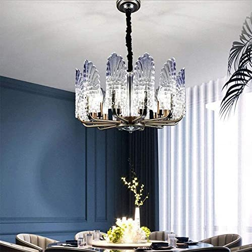Modern Glass Chandeliers, 10 Lights E12 Creative Peacock Feather Iron Chandelier Flush Mount with Adjustable Chain, Glass Chandelier Pendant Lights for Dining Living Room Restaurant Hotel Lighting