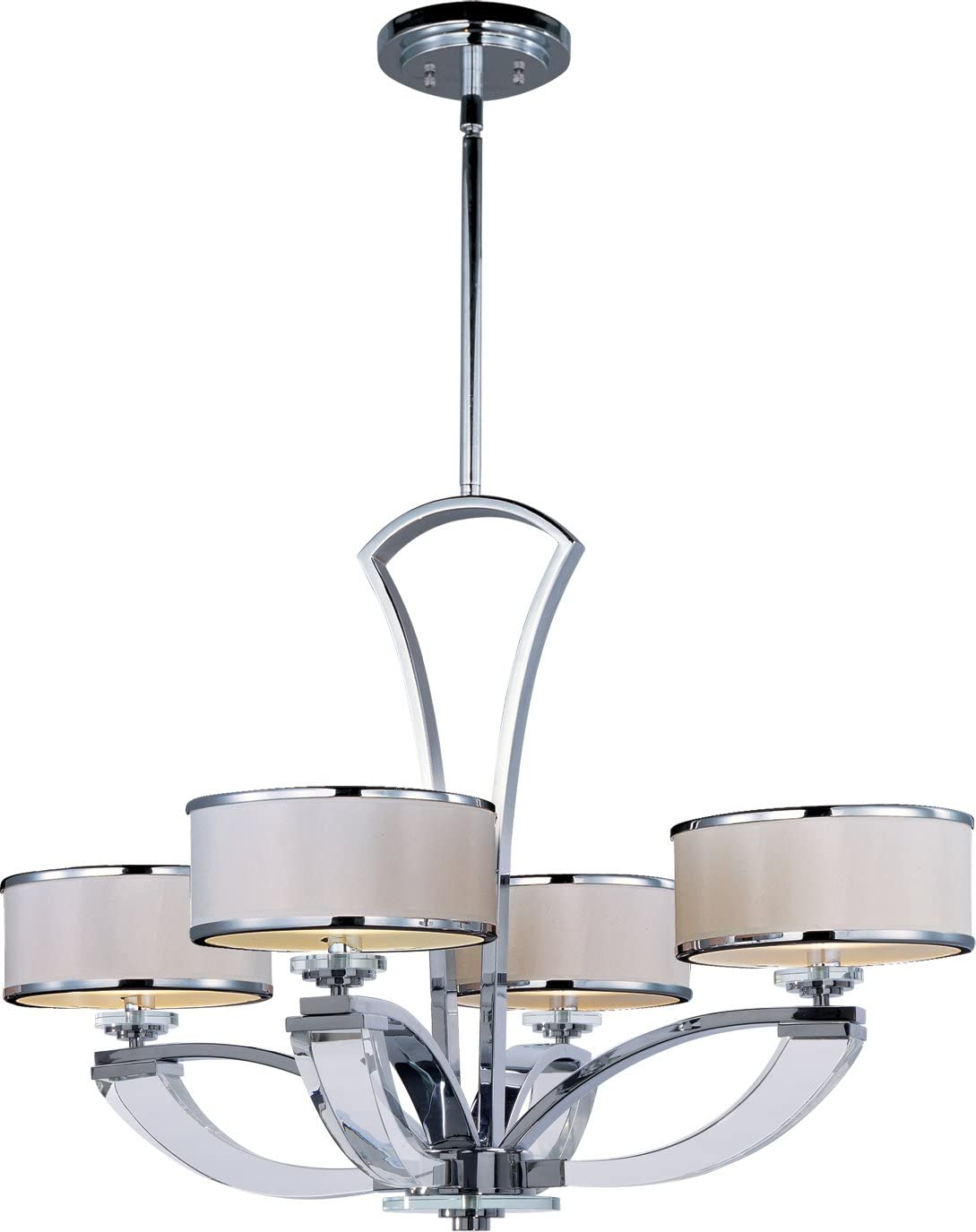 Maxim 39824BCWTPC Metro 4-Light Chandelier, Polished Chrome Finish, Beveled Crystal Glass, G9 Xenon Xenon Bulb , 100W Max., Wet Safety Rating, Standard Dimmable, Glass Shade Material, 1150 Rated Lumens