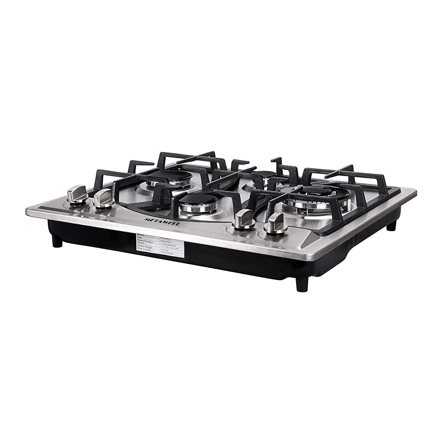 METAWELL 23 Curve Stainless Steel 4 Burner Stove NG//LPG Hob Cooktops Cooker US Seller, Ship from CA,US