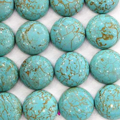 7pcs Natural Gemstone Coin 16mm Cabochons for Jewelry Making Beads Cabs (Blue Turquoise)