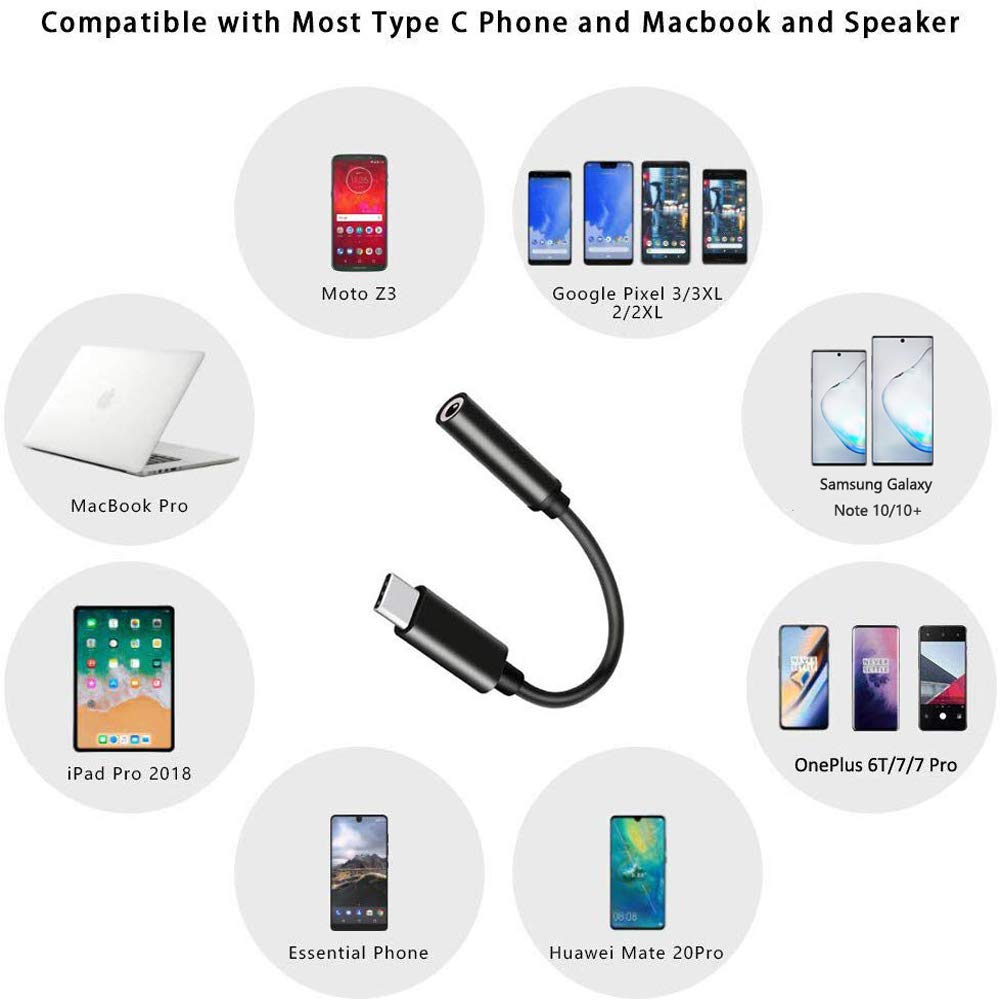 USB C to 3.5mm Headphone Jack Adapter, Mxcudu USB C to 3.5mm Audio Adapter Headphone Jack Dongle Compatible with Google Pixel 4/3/3XL, Samsung Galaxy Note 10/10+, iPad Pro 2018 and More(Black)